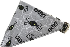 Spiders Bandana Pet Collar Black Size 16