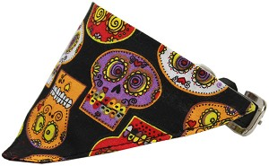 Crazy Skulls Bandana Pet Collar Black Size 18
