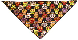 Crazy Skulls Tie-On Pet Bandana Size Large