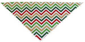 Christmas Chevron Tie-On Pet Bandana Size Small