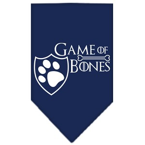 Game of Bones Screen Print Bandana Navy Blue Small