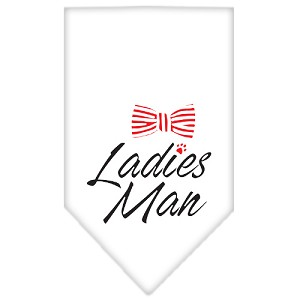 Ladies Man Screen Print Bandana White Large