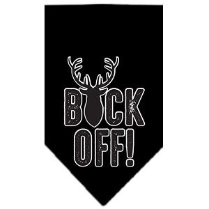 Buck Off Screen Print Bandana Black Large