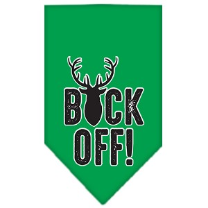 Buck Off Screen Print Bandana Emerald Green Large