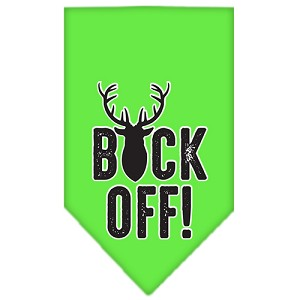 Buck Off Screen Print Bandana Lime Green Large