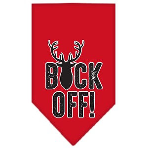 Buck Off Screen Print Bandana Red Large