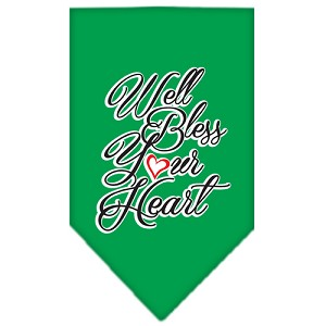Well Bless Your Heart Screen Print Bandana Emerald Green Small