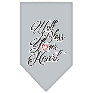 Well Bless Your Heart Screen Print Bandana Grey Large