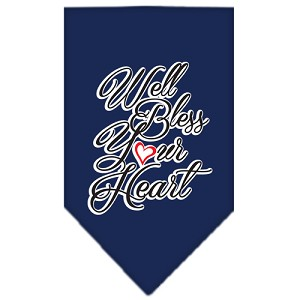 Well Bless Your Heart Screen Print Bandana Navy Blue large