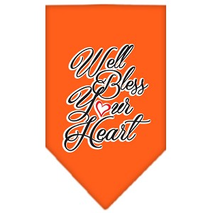 Well Bless Your Heart Screen Print Bandana Orange Large