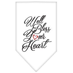 Well Bless Your Heart Screen Print Bandana White Large