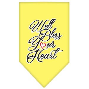 Well Bless Your Heart Screen Print Bandana Yellow Large