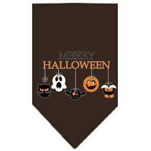 Merry Halloween Screen Print Bandana Brown Small