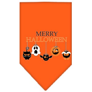 Merry Halloween Screen Print Bandana Orange Small