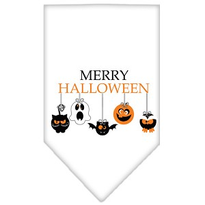 Merry Halloween Screen Print Bandana White Small