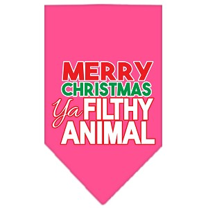 Ya Filthy Animal Screen Print Pet Bandana Bright Pink Size Small