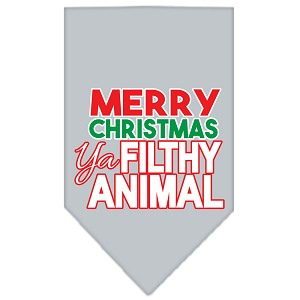 Ya Filthy Animal Screen Print Pet Bandana Grey Size Small