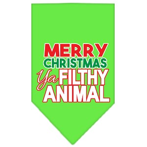 Ya Filthy Animal Screen Print Pet Bandana Lime Green Size Large