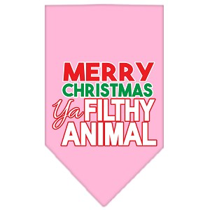 Ya Filthy Animal Screen Print Pet Bandana Light Pink Size Small