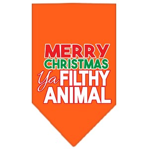 Ya Filthy Animal Screen Print Pet Bandana Orange Size Large