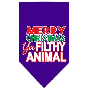 Ya Filthy Animal Screen Print Pet Bandana Purple Size Small