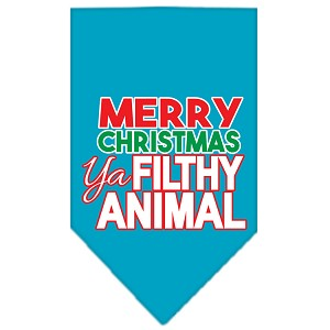 Ya Filthy Animal Screen Print Pet Bandana Turquoise Size Small