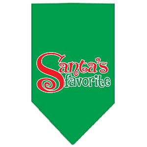 Santas Favorite Screen Print Pet Bandana Emerald Green Size Small