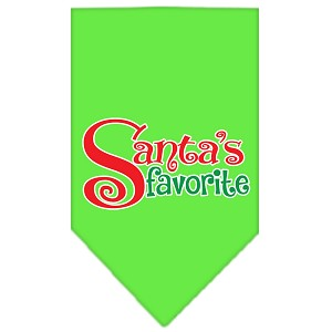 Santas Favorite Screen Print Pet Bandana Lime Green Size Small