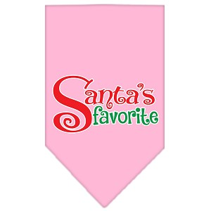 Santas Favorite Screen Print Pet Bandana Light Pink Size Small