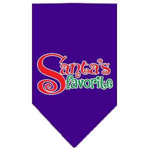 Santas Favorite Screen Print Pet Bandana Purple Size Small