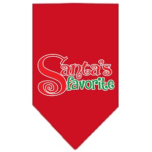 Santas Favorite Screen Print Pet Bandana Red Size Large