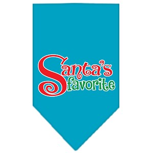 Santas Favorite Screen Print Pet Bandana Turquoise Size Small