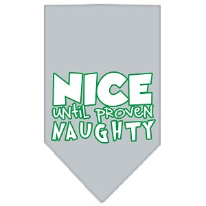 Nice until proven Naughty Screen Print Pet Bandana Grey Size Small