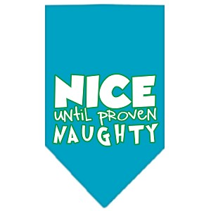 Nice until proven Naughty Screen Print Pet Bandana Turquoise Size Large