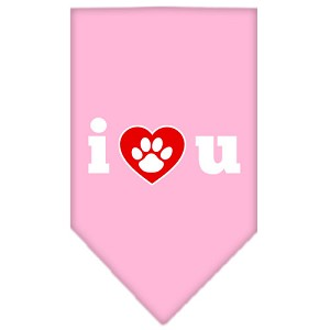 I Love U Screen Print Bandana Light Pink Large