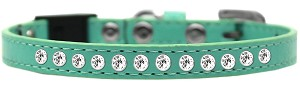 Clear Jewel Breakaway Cat Collar Aqua Size 14