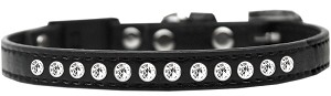 Clear Jewel Breakaway Cat Collar Black Size 14