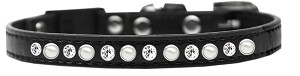 Pearl and Clear Jewel Breakaway Cat Collar Black Size 10