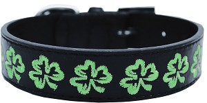 Embroidered Dog Collar Shamrock Large