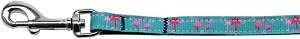 Pink Flamingos Nylon Ribbon Pet Leash 3/8 inch wide 4Ft Lsh