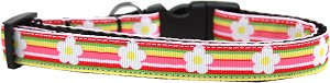 Striped Daisy Nylon Ribbon Dog Collar Medium Narrow