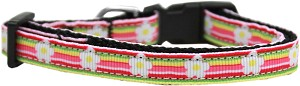 Striped Daisy Nylon Ribbon Dog Collar Sm