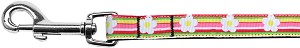 Striped Daisy Nylon Ribbon Pet Leash 5/8 inch wide 4Ft Lsh