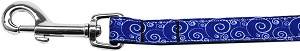 Blue and White Swirly Nylon Ribbon Pet Leash 5/8 inch wide 6Ft Lsh