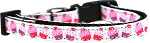 Pink and Purple Cupcakes Nylon Ribbon Dog Collar XS