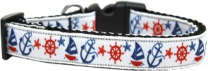 Anchors Away Nylon Ribbon Dog Collar XL