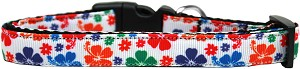 Multi-Colored Hawaiian Hibiscus Nylon Ribbon Dog Collar Medium Narrow