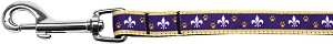 Purple and Yellow Fleur de Lis Nylon Ribbon Pet Leash 5/8 inch wide 6Ft Lsh