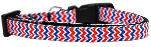 Patriotic Chevrons Nylon Ribbon Dog Collar XS