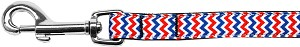 Patriotic Chevrons Nylon Ribbon Pet Leash 5/8 inch wide 4Ft Lsh